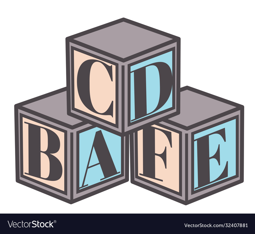 Educational cubes with letters abc blocks