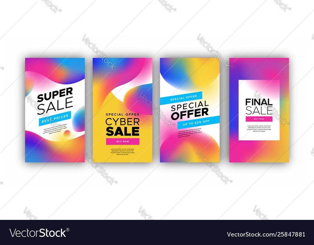 Holographic gradient sale background template set