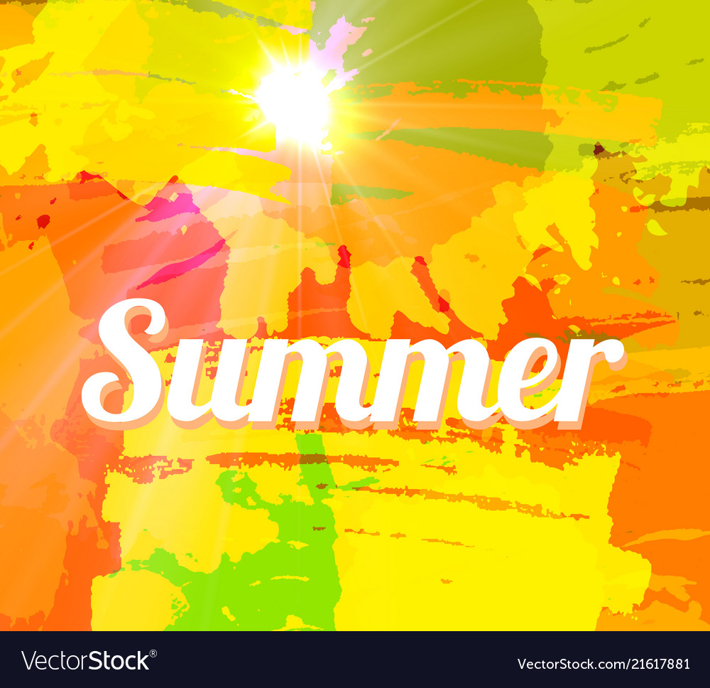 Hot summer background with bright color brush