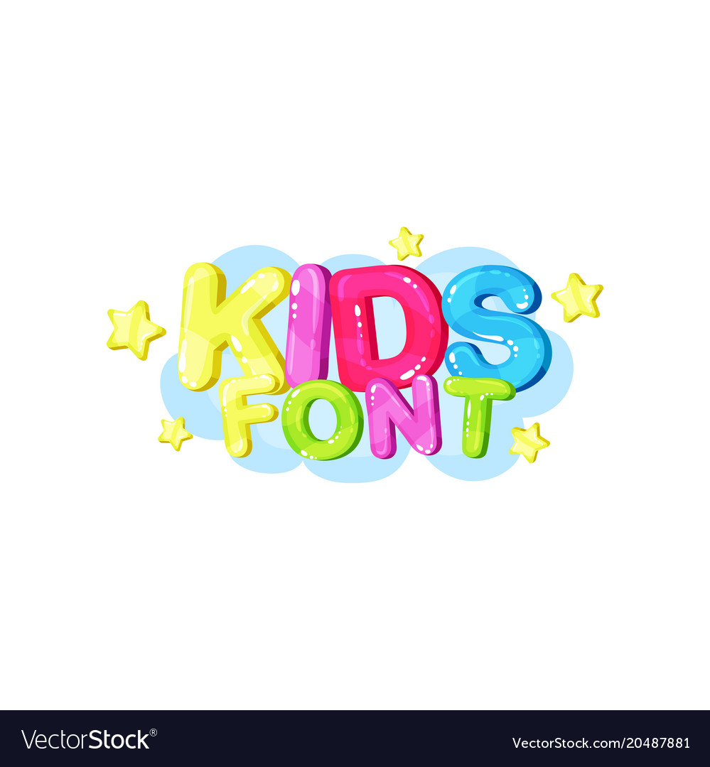 Kids font bright glossy colorful logo
