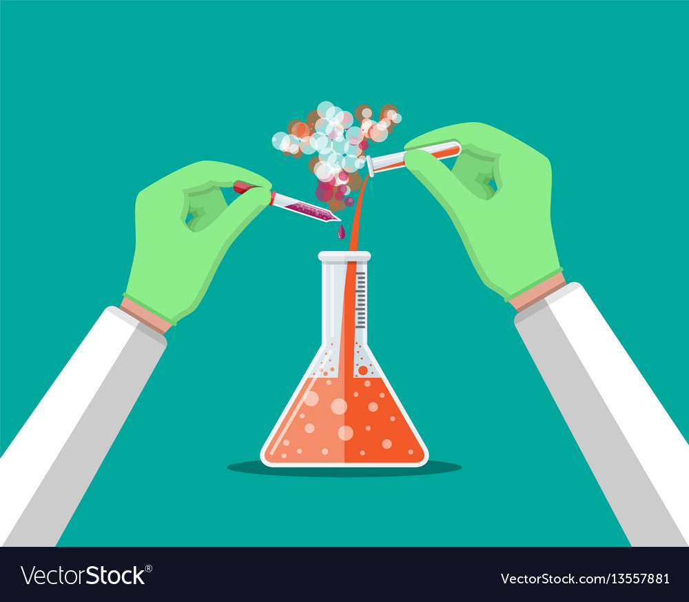 Laboratory worker holding glass tube and pipette