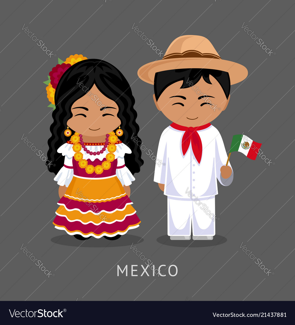 Mexicans in national dress with a flag