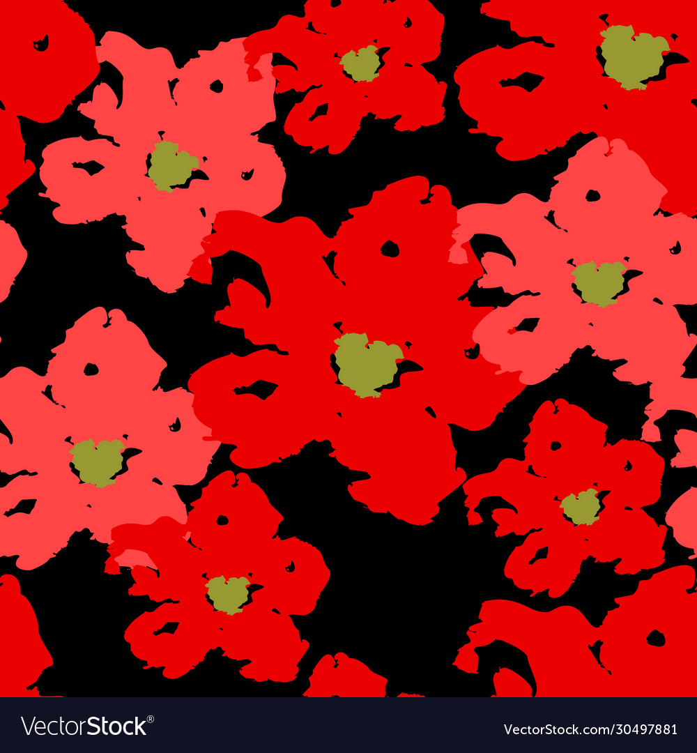 Red poppy seamless summer pattern on black