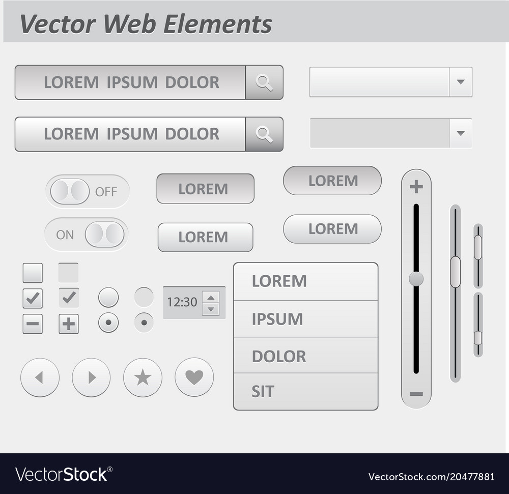 Set of flat white design ui and ux elements