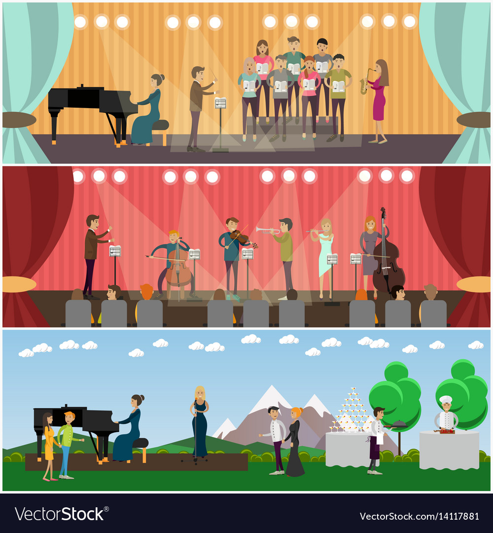 Set of orchestra concept flat style posters vector image