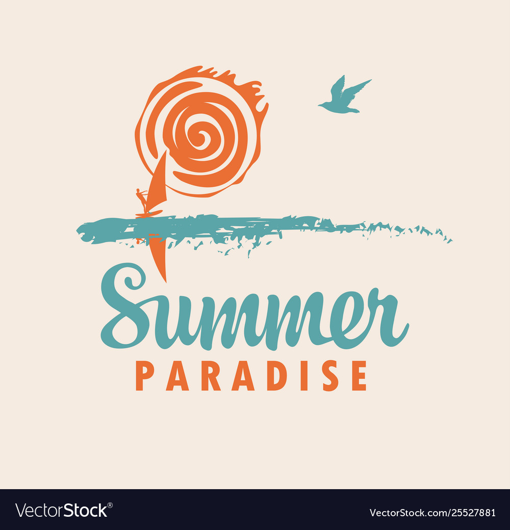 Summer travel icon or logo with sea sun surfer