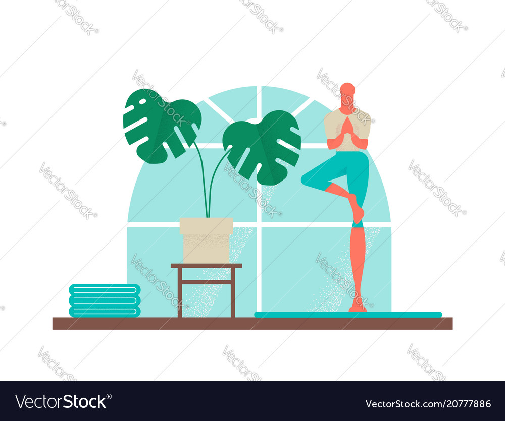 Boy doing yoga tree pose for healthy lifestyle