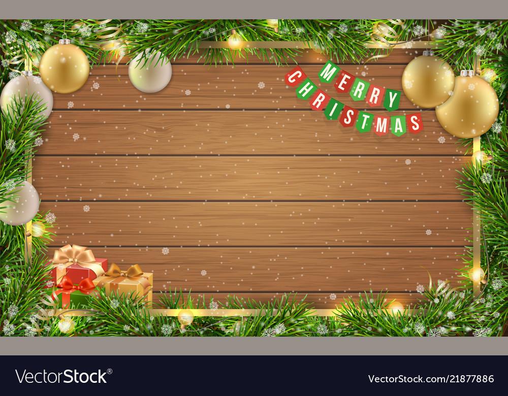 Christmas card fir tree ball wooden background