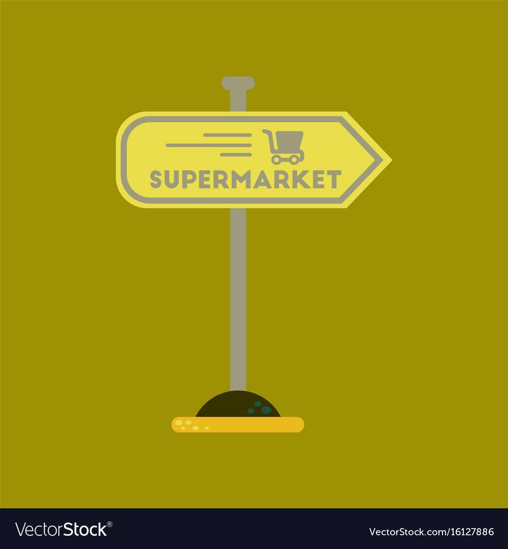 Flat icon on background supermarket sign