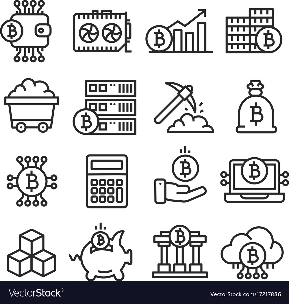 Lines icon set bitcoin crypto