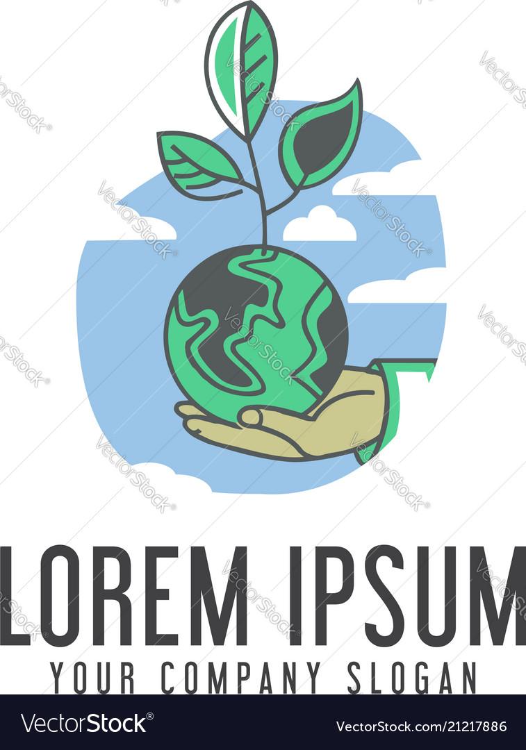 Save earth logo ecology design concept template