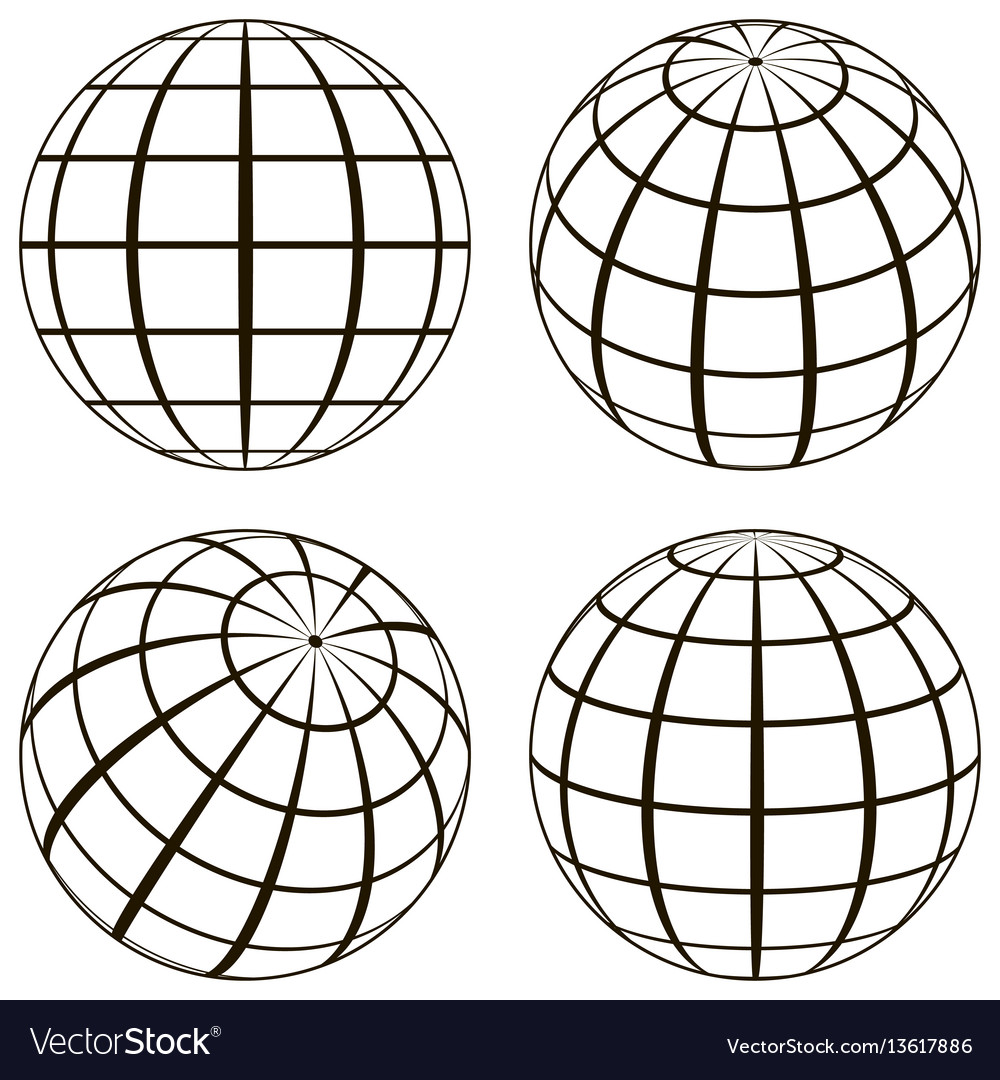 Set globe technical picture contours of