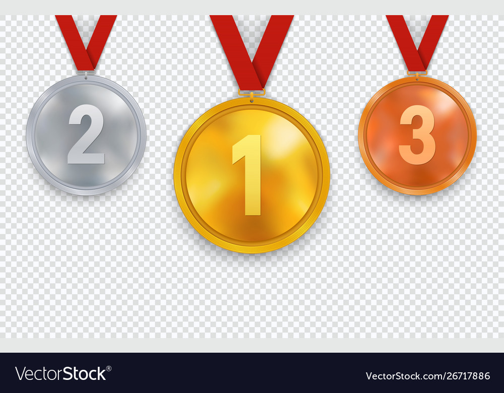 Set gold silver and bronze medals with red