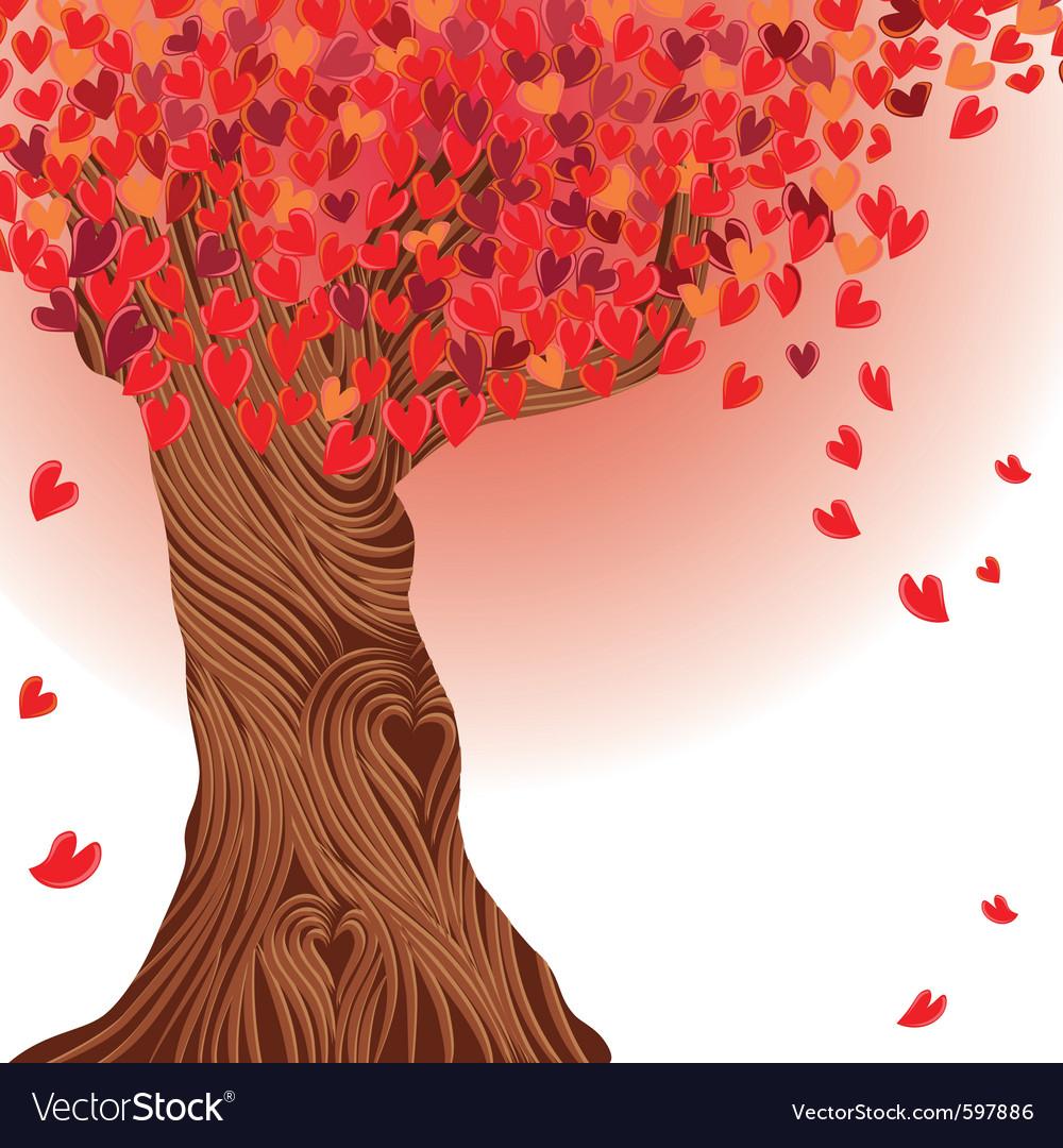 Valentine tree heart vector image