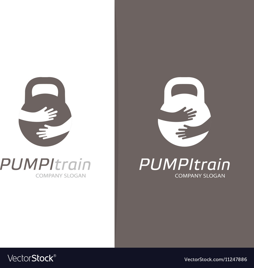 Weight and hands logo combination Dumbbell vector image