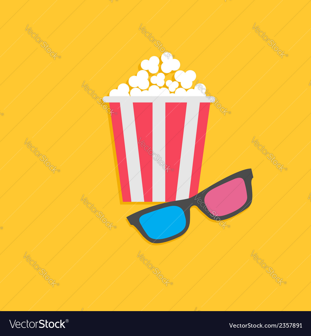3D glasses and popcorn Cinema icon in flat dsign