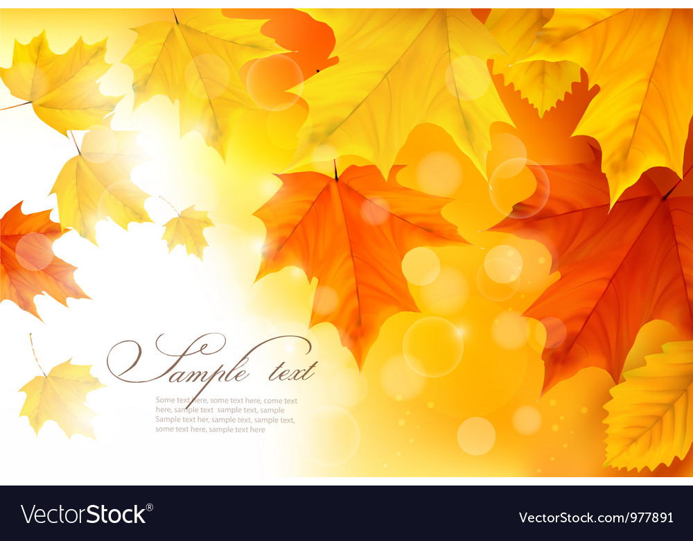 Autumn background with gold and red leaves