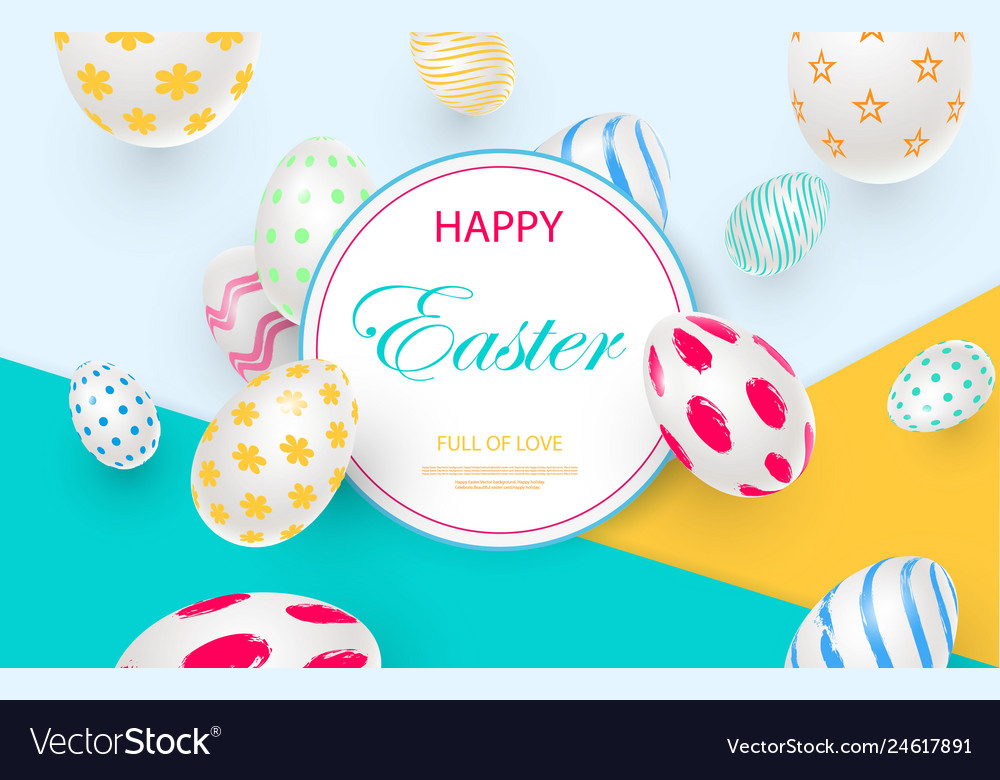 Easter card with white decorated 3d eggs