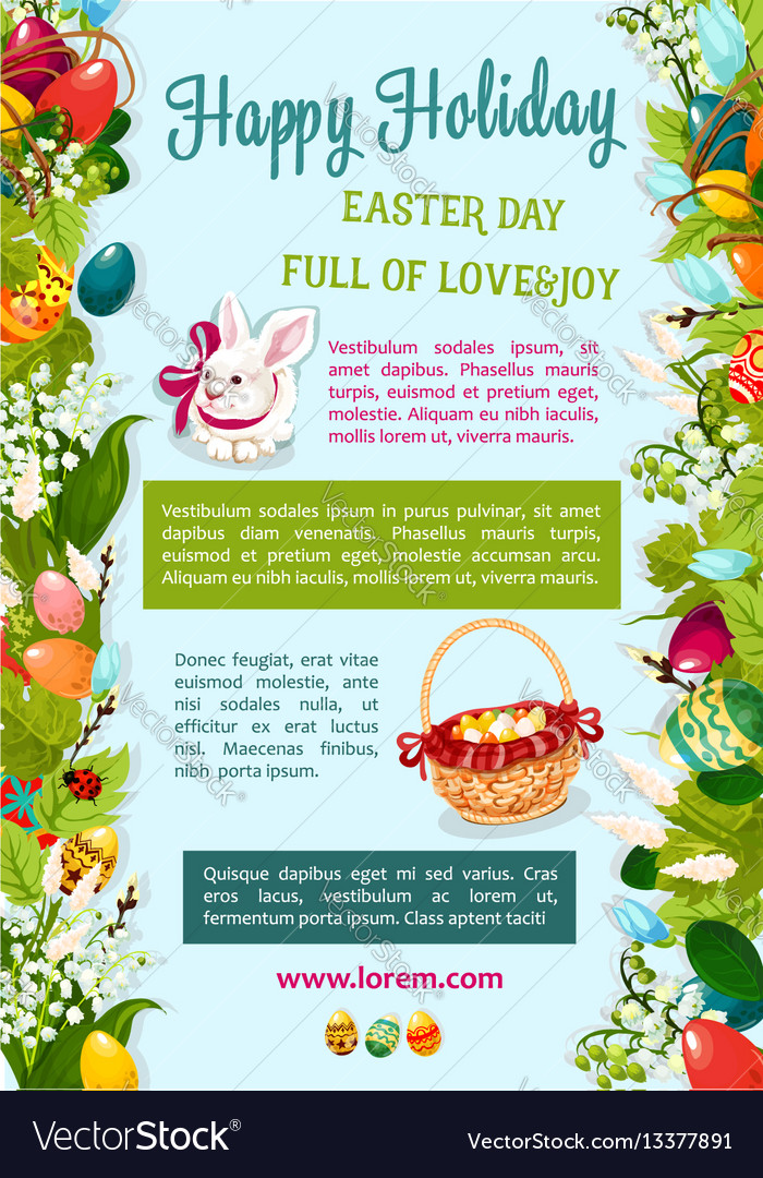 Easter day happy holiday greeting poster template