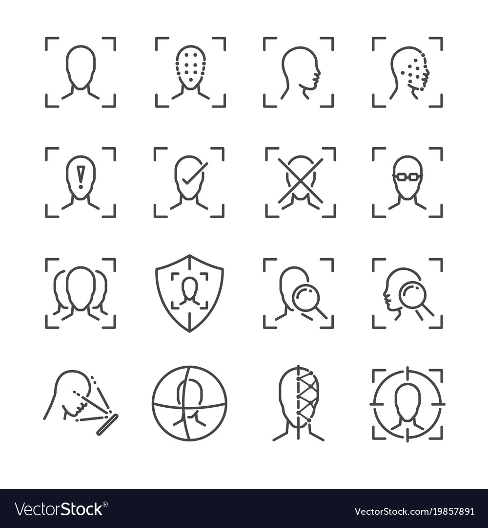 Face id line icon set