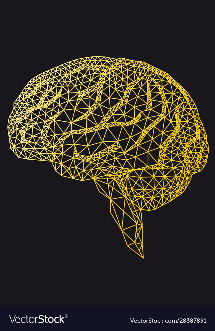 Gold human brain with geometric pattern