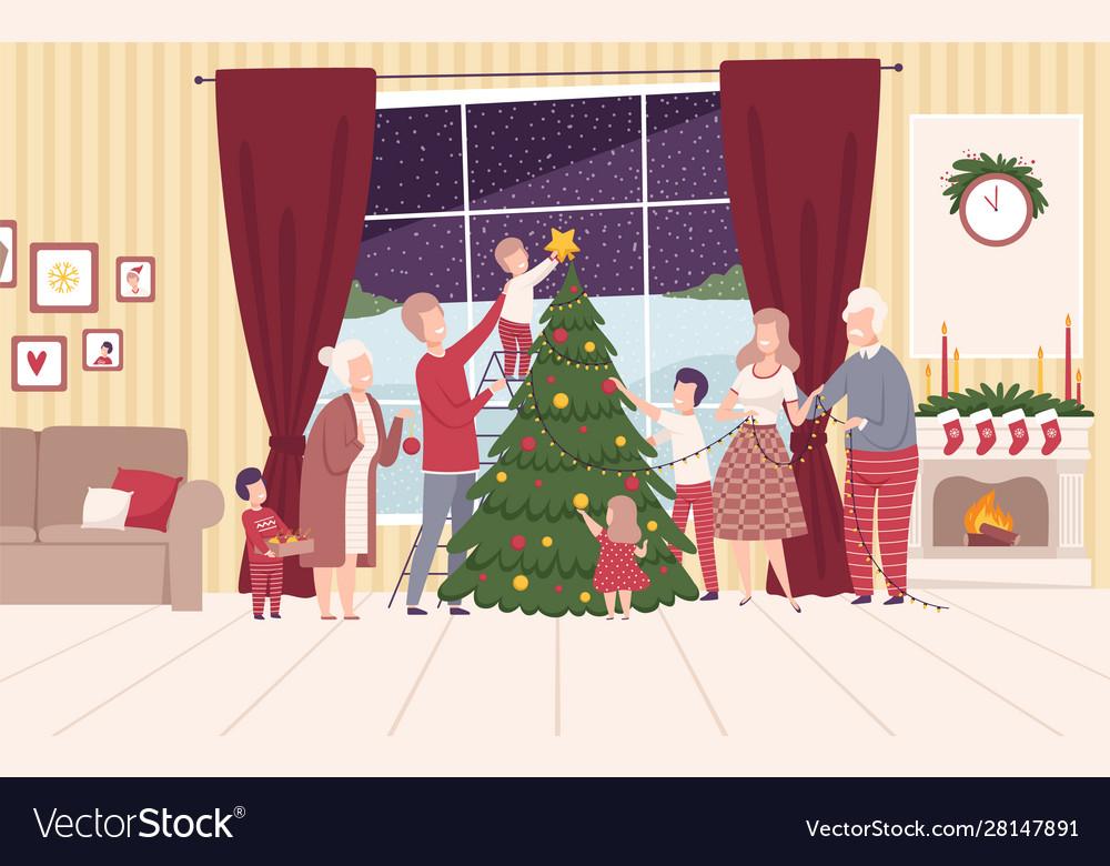 Happy big family decorating christmas tree people