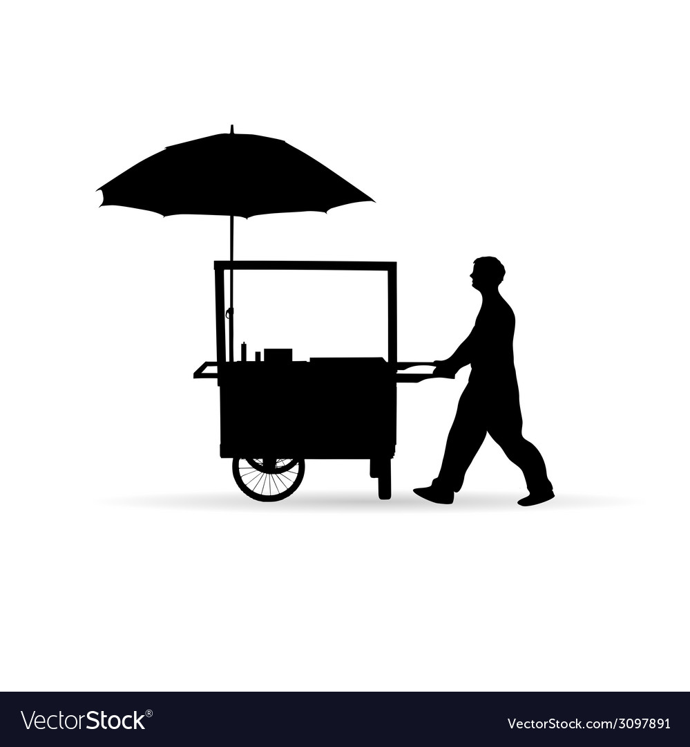 Man sold hot dog silhouette vector image