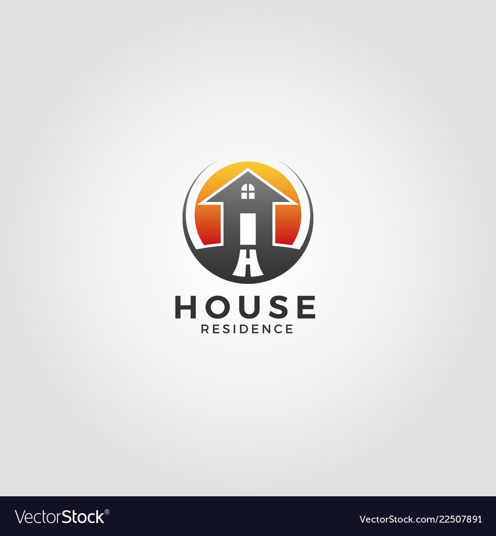 Residence house logo template with circle concept