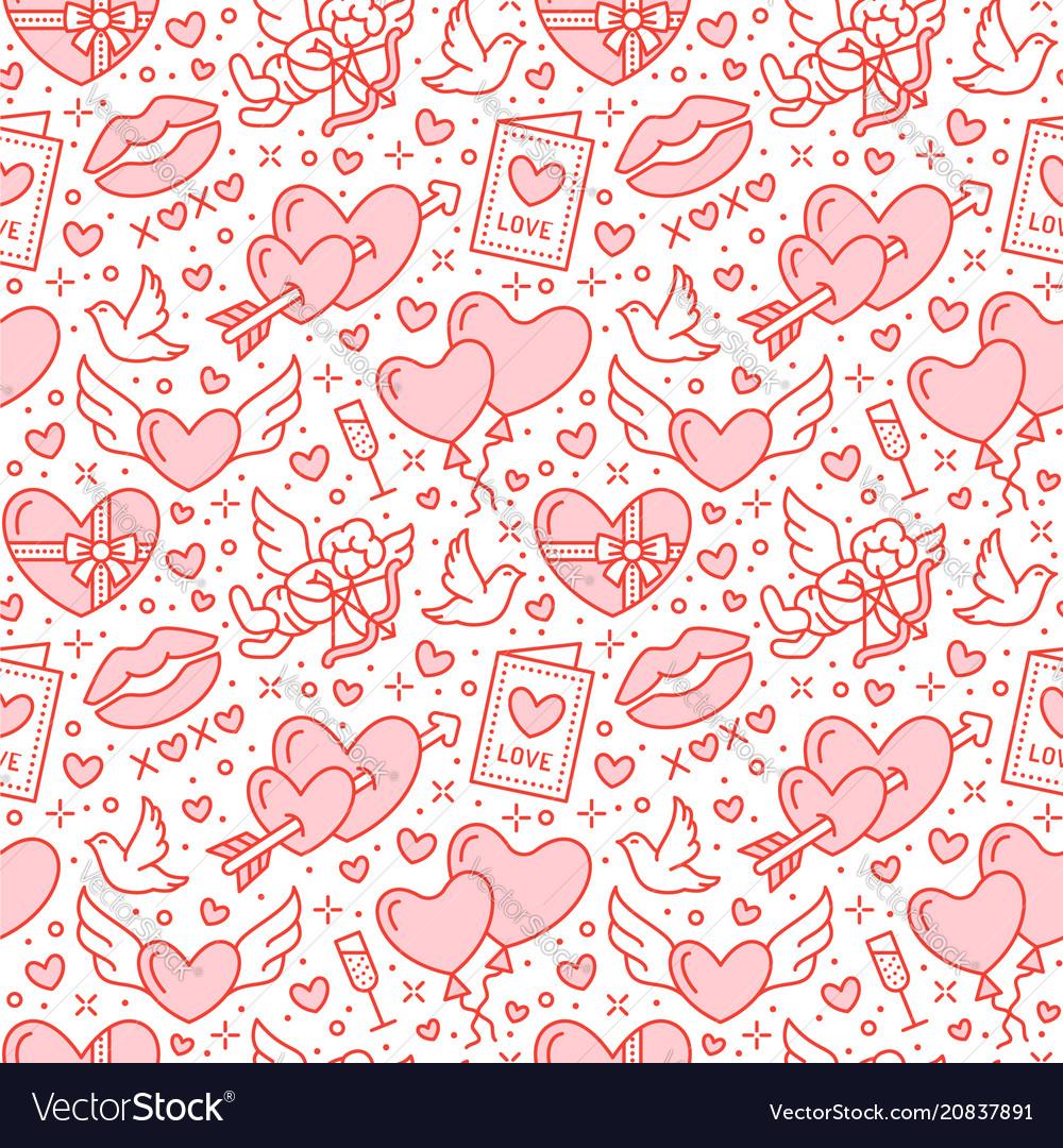 Romance seamless pattern love wedding flat line