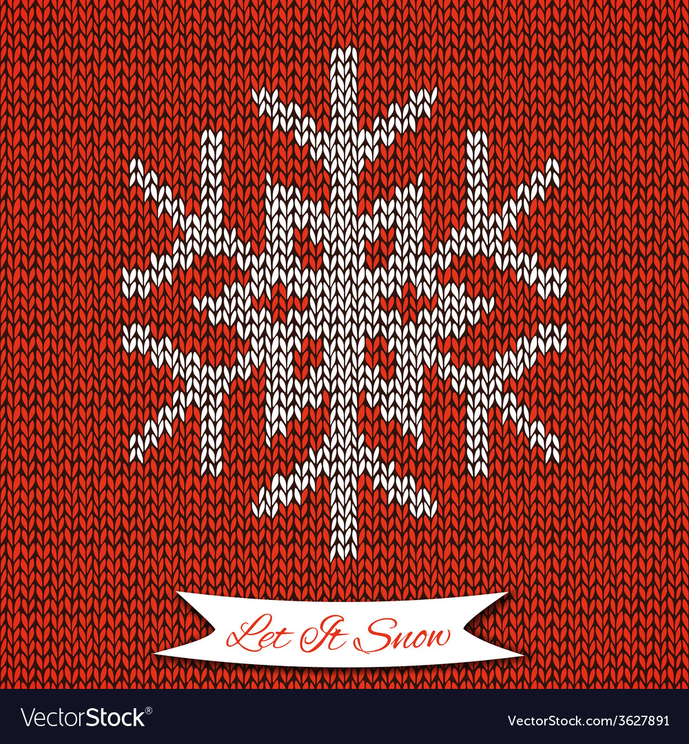 Seamless Pattern With Knitted Snowflake Royalty Free Vector