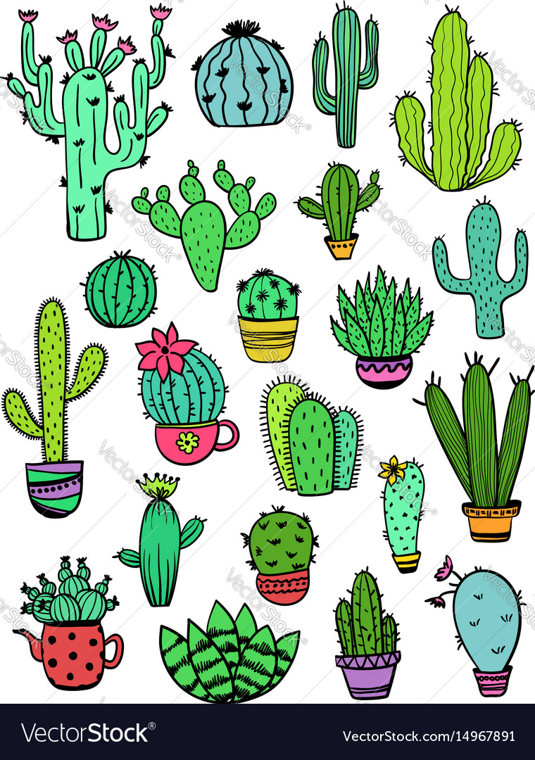 Set of colorful cactus icons