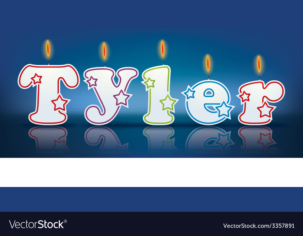 TYLER written with burning candles vector image