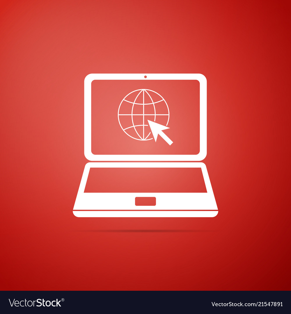 Website on laptop screen icon on red background