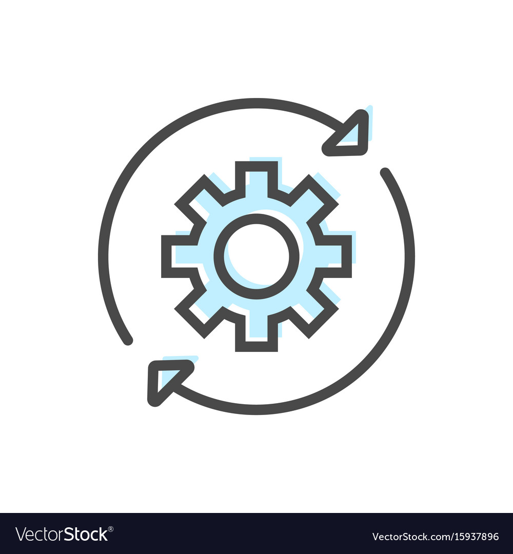 artificial intelligence icon with gear symbol vector image