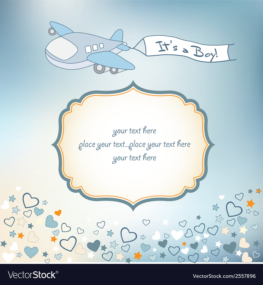 baby boy announcement card with airplane vector image