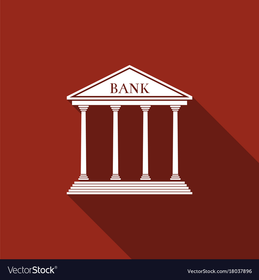Bank building icon isolated with long shadow