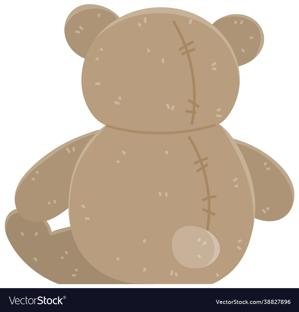 Brown bear children s soft toy back view teddy