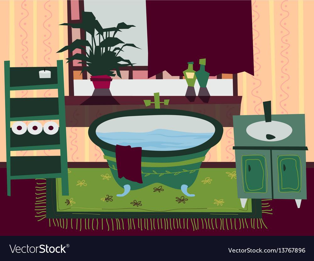 Cartoon flat bathroom interior