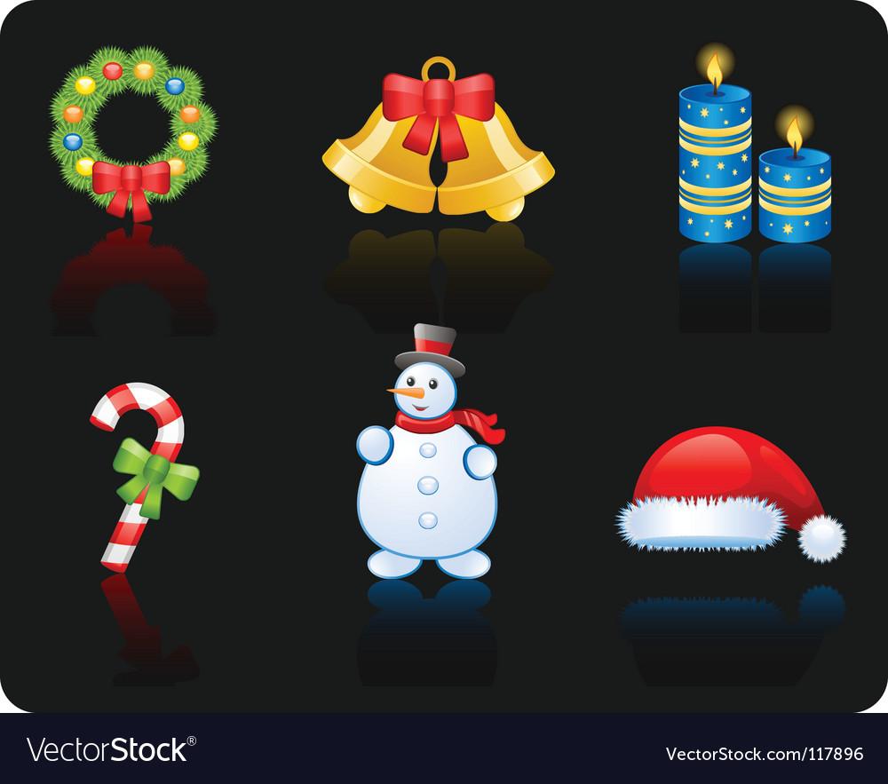 Christmas black background icon set vector image