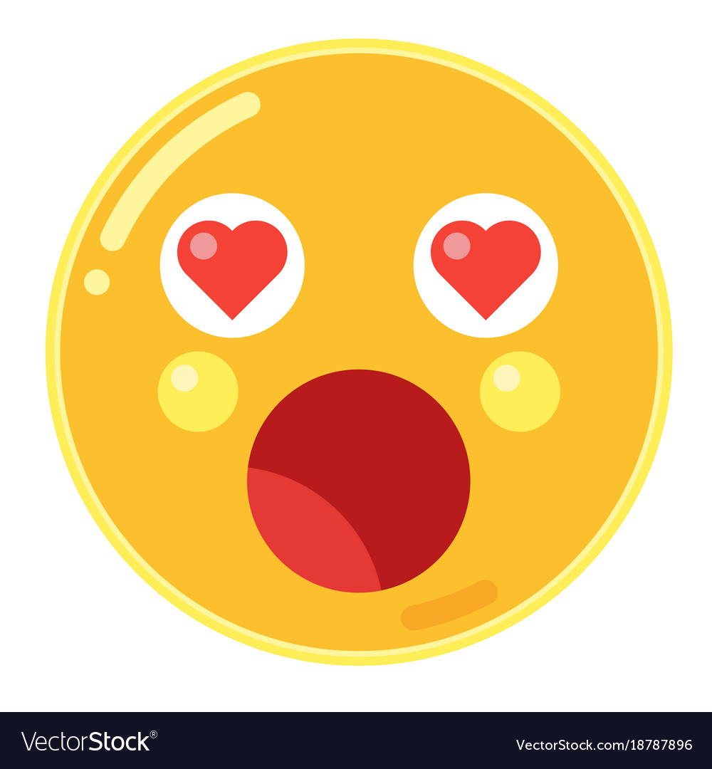 Emoji of astonishment with love heart eyes in vector image