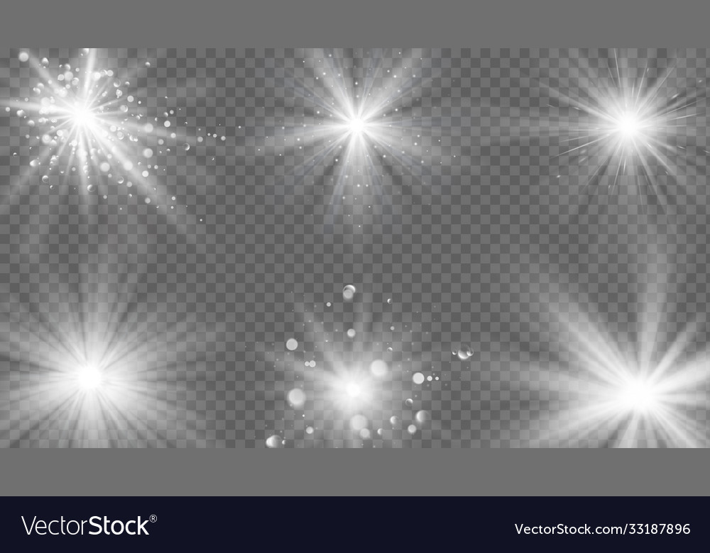 Flares and rays effect white light burst star