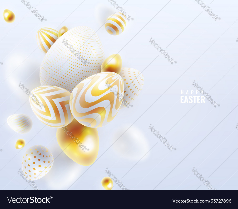 Happy easter holiday background with 3d eggs