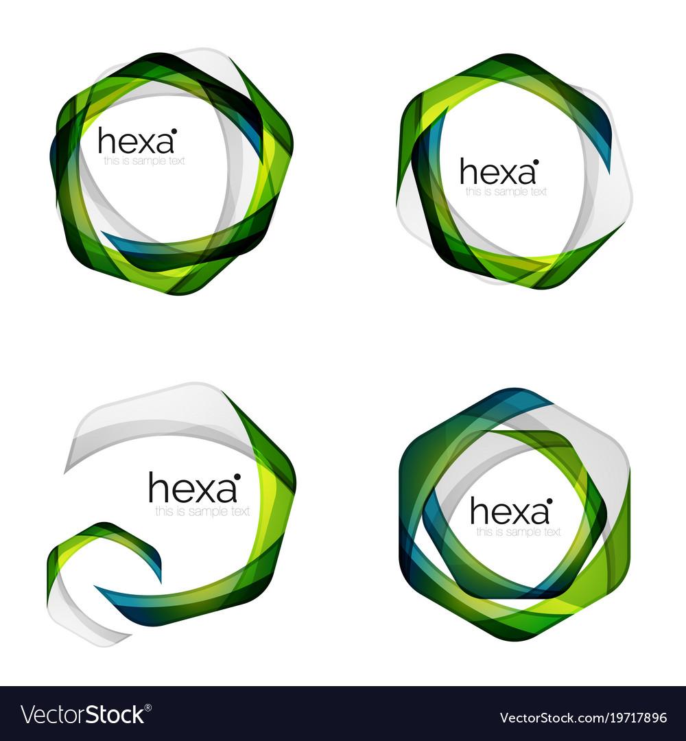 Hexagon logo icon templates Royalty Free Vector Image