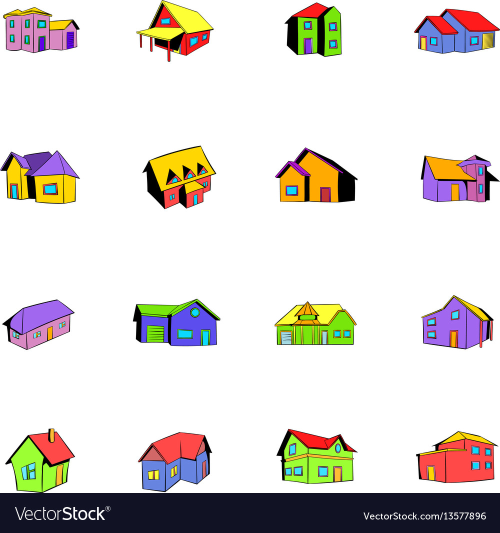 House icons set cartoon
