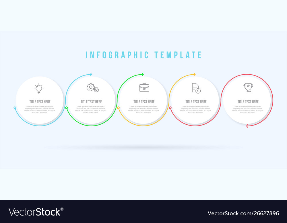 Infographic circle thin line template 5 options