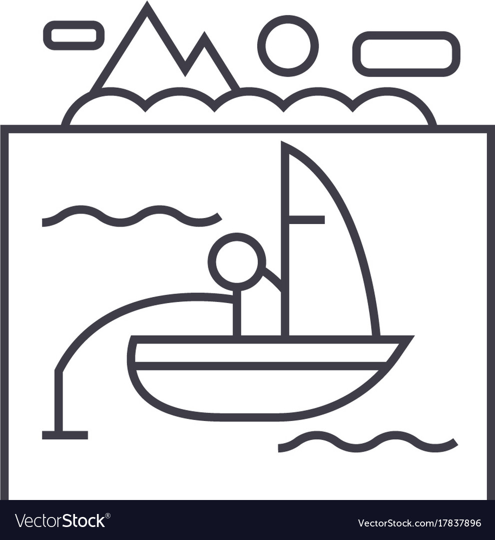 Lake fishing on boat line icon sign