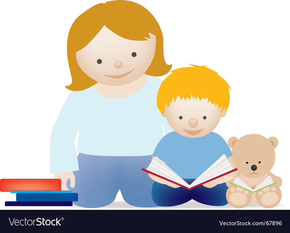 Mum and child read vector image