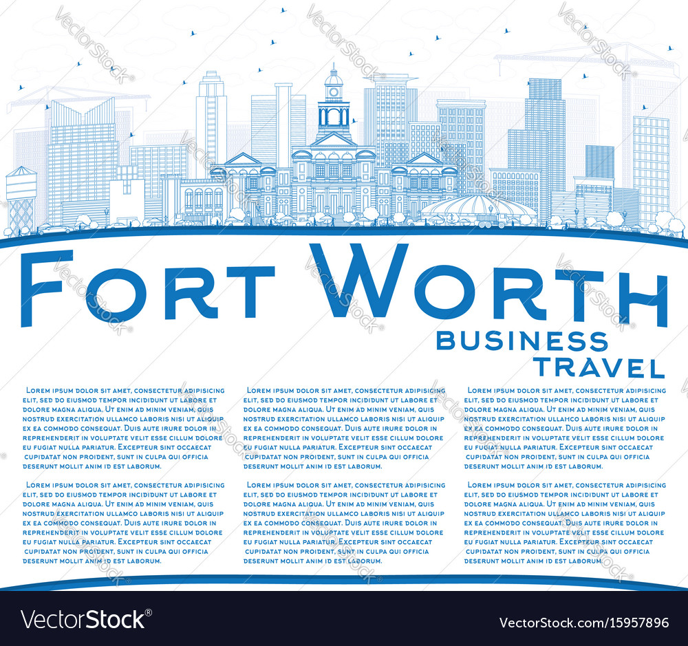 Outline fort worth skyline with blue buildings