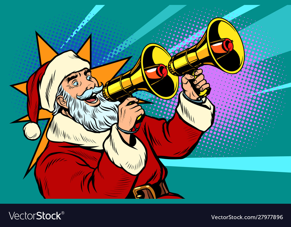 Santa claus with a megaphone christmas sale vector
