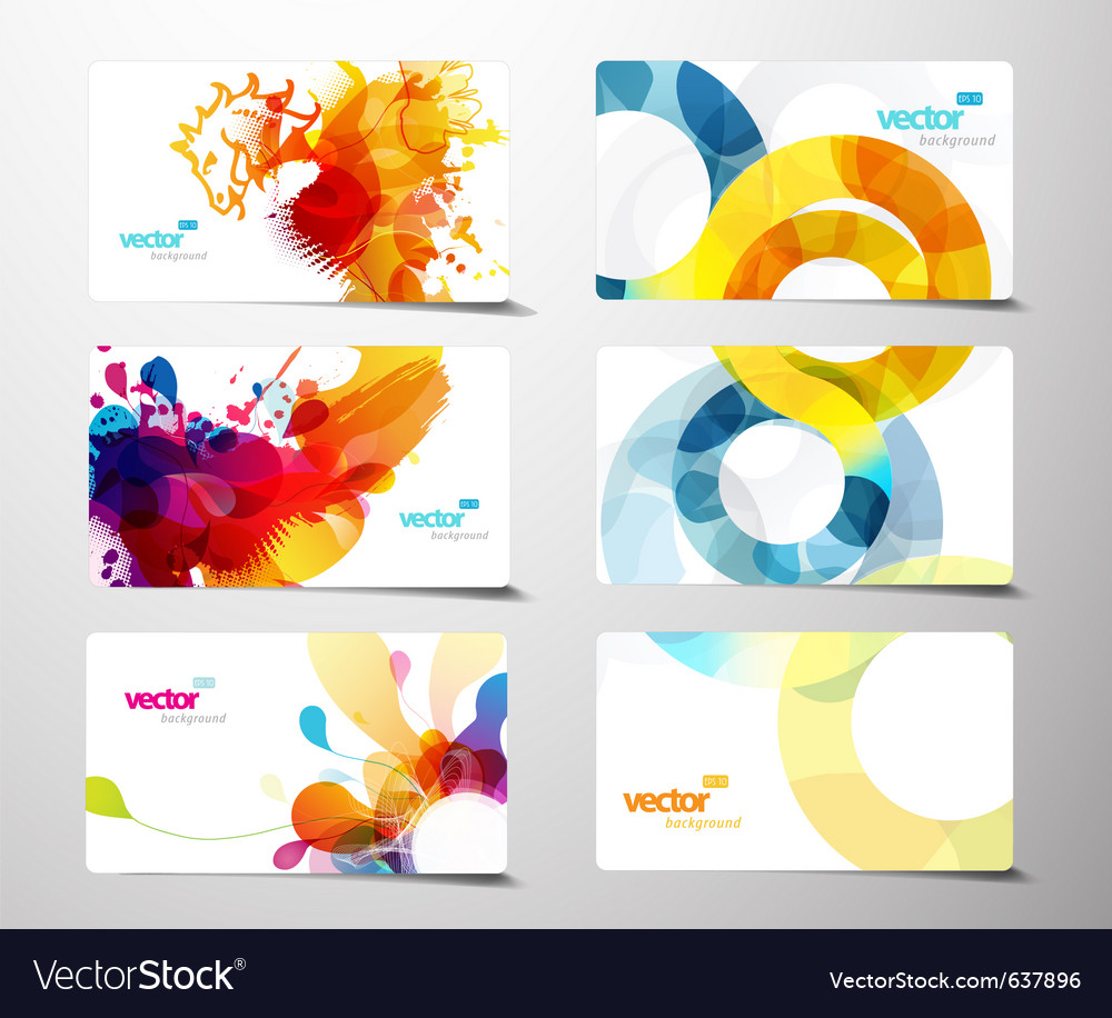 Set abstract colorful splash gift cards